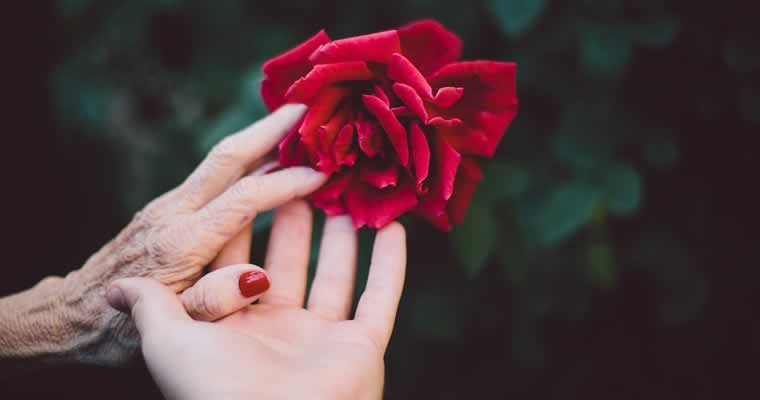 older and younger woman holding hands and a rose